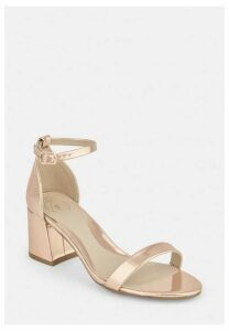 Rose Gold Wide Fit Mid Block Heel Barely There Heels, Gold