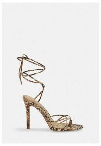 Nude Snake Print Strappy Toe Post Heeled Sandals, Nude