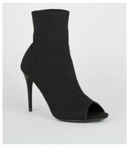 Black Stretch Sock Stiletto Peep Toes New Look