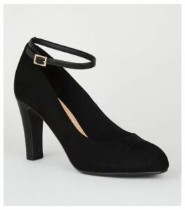 Black Suedette Round Toe Court Shoes New Look