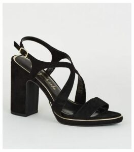 Black Suedette Metal Piped Cross Strap Heels New Look