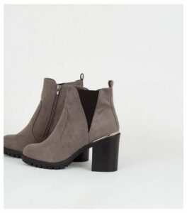 Wide Fit Grey Suedette Cleated Ankle Boots New Look Vegan