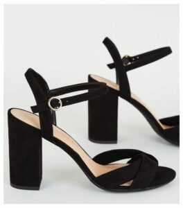 Wide Fit Black Wrap Strap Heeled Sandals New Look