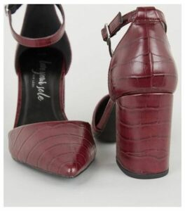 Dark Red Faux Croc 2 Part Court Shoes New Look Vegan