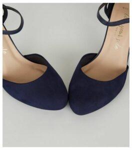 Wide Fit Navy Suedette 2 Part Court Shoes New Look Vegan