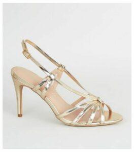 Gold Metallic Strappy Knot Stiletto Heels New Look