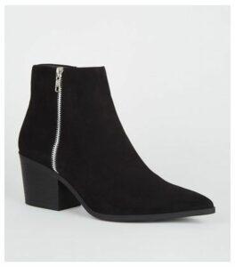 Black Suedette Side Zip Western Boots New Look Vegan