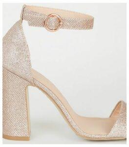 Rose Gold Glitter 2 Part Block Heels New Look