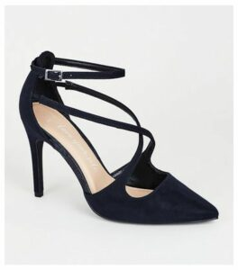 Wide Fit Navy Suedette Cross Strap Court Shoes New Look Vegan