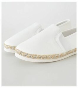 Wide Fit White Canvas Metallic Sole Espadrilles New Look