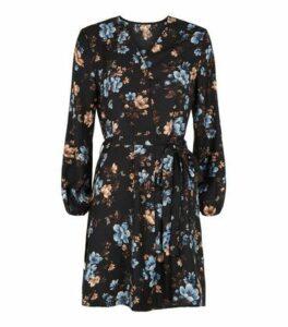 Mela Black Floral Tie Waist Mini Dress New Look
