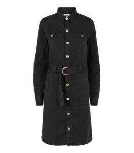 Tall Black Denim D-Ring Belted Shirt Dress New Look