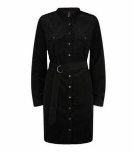 Black Corduroy Belted Shirt Dress New Look