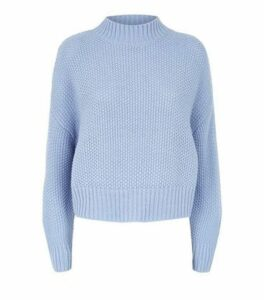 Blue Stitch Knit High Neck Jumper New Look