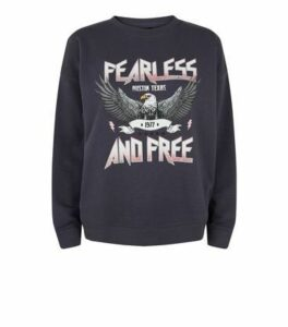 Dark Grey Fearless Slogan Sweatshirt New Look