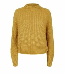 Mustard Stitch Knit High Neck Jumper New Look