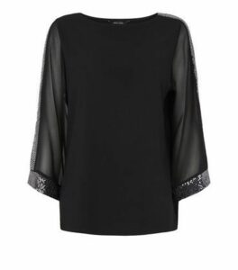 Black Kimono Sequin Trim Blouse New Look