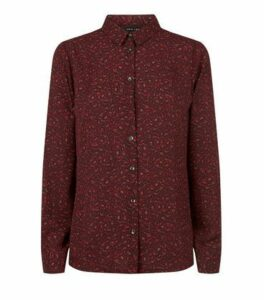 Red Leopard Print Long Sleeve Shirt New Look
