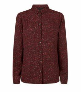 Red Leopard Print Long Sleeve Shirt New Look