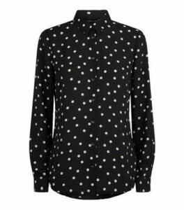 Black Chiffon Spot Long Sleeve Shirt New Look