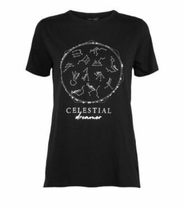 Black Celestial Metallic Horoscope Slogan T-Shirt New Look