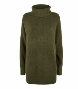 Khaki Slouchy Roll Neck Jumper New Look