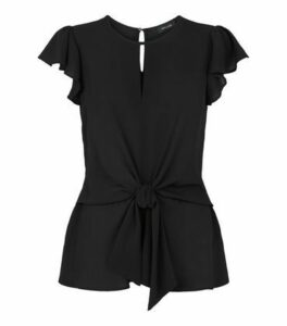 Black Frill Tie Front Top New Look