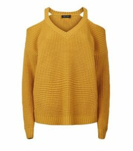 Mustard Waffle Knit Cold Shoulder Jumper New Look