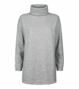Grey Ribbed Brushed Cowl Neck Jumper New Look