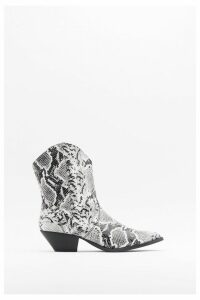 Womens Snake The Risk Faux Leather Western Boots - White - 6, White