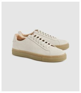 Reiss Finley - Suede Contrast Sole Trainers in Blush, Womens, Size 8