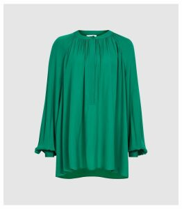 Reiss Gwen - Gather Detailed Blouse in Green, Womens, Size 16