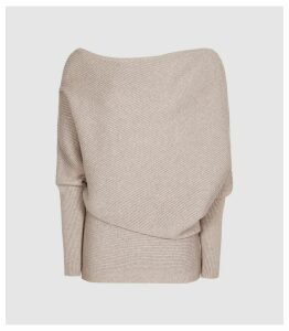 Reiss Lorna - Asymmetric Knitted Top in Stone, Womens, Size XXL