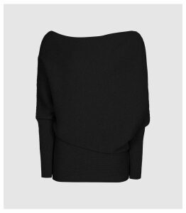 Reiss Lorna - Asymmetric Knitted Top in Black, Womens, Size XXL