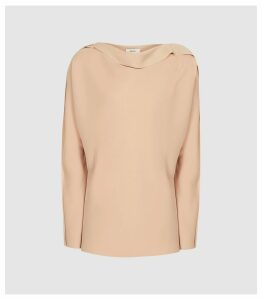 Reiss Elif - Drape Detailed Top in Nude, Womens, Size 16