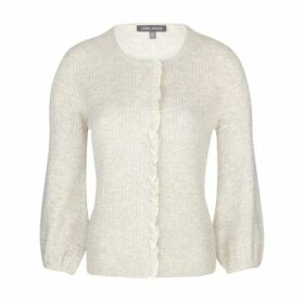 Cable Knit Ruffle Detail Cardigan