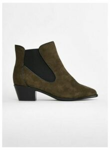 Wide Fit Khaki Curved Side Ankle Boot, Khaki