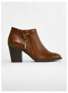 Extra Wide Fit Brown Side Zip Ankle Boots, Brown