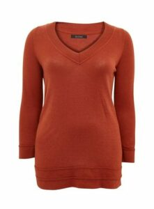 Rust V-Neck Jumper, Rust