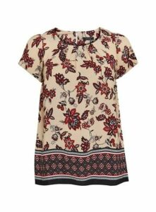 Neutral Floral Border Shell Top, Beige/Natural