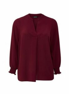 Wine Shirred Cuff Notch Neck Blouse, Wine