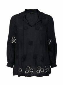 Navy Blue Embroidered Detail Blouse, Navy