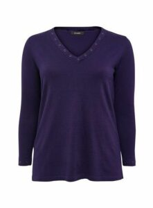 Purple Eyelet V Neck Jumper, Purple