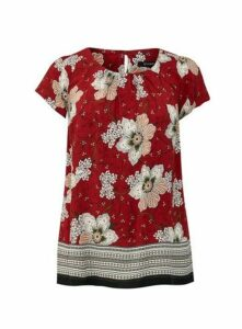 Red Floral Print Vine Shell Top, Wine