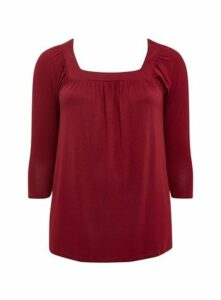 Berry Square Neck Top, Wine