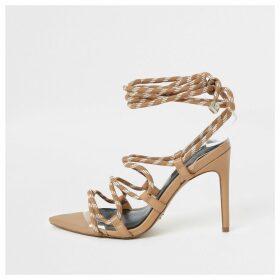 River Island Womens Beige lace-up skinny heel sandal