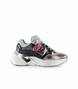 Pinko Olivo Silver Black Laminated Leather Sneaker