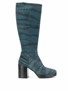 A.F.Vandevorst zebra print knee-high boots - Blue