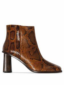 Rejina Pyo Alana 75mm snake-effect ankle boots - Brown