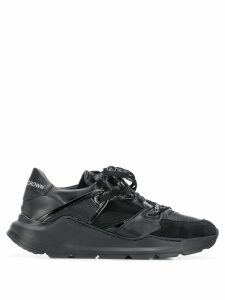 Leather Crown panelled leather sneakers - Black
